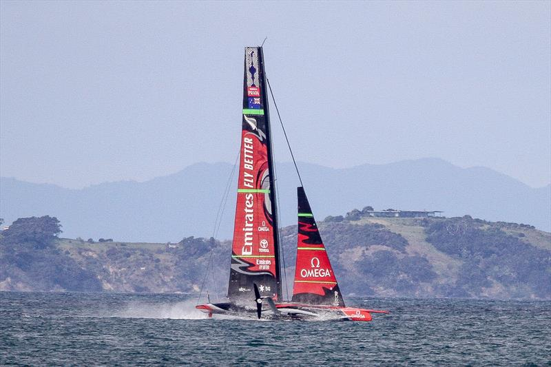 Emirates Team New Zealand makes a brief touch-down in puffy conditions - Waitemata Harbour - September 22 - photo © Richard Gladwell