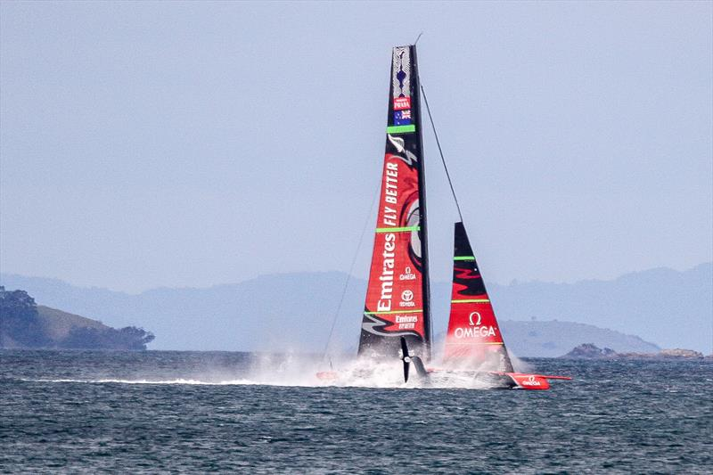 2. Emirates Team New Zealand three frames on from the splash the AC75 has flattened out nicely, the wing is clear and loss of speed appeared minimal- Waitemata Harbour - September 22, 2019 - photo © Richard Gladwell