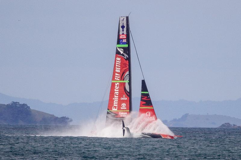 1. Emirates Team New Zealand takes a dive - Waitemata Harbour - September 22, 2019 - photo © Richard Gladwell