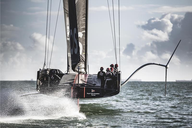 INEOS Team UK's AC75 Britannia foiling off Portsmouth, UK - photo © Harry KH / INEOS Team UK