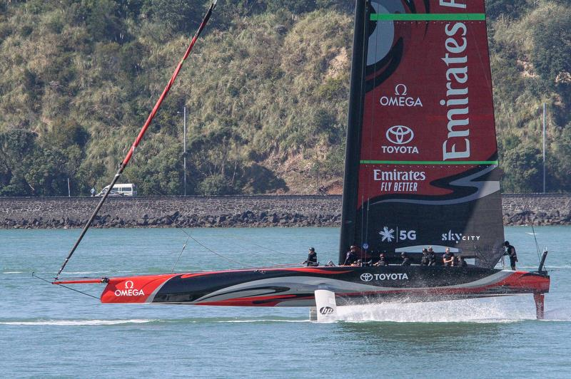 Emirates Team New Zealand - tows out just after 8.00am for another training session - Waitemata Harbour - October 2019 - photo © Richard Gladwell / Sail-World.com