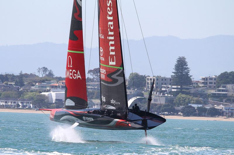 Te Aihe - Emirates Team New Zealand heels to leeward lifting her wing clear of the water during a bear away- Waitemata Harbour - November 4, 2019 - photo © Richard Gladwell / Sail-World.com