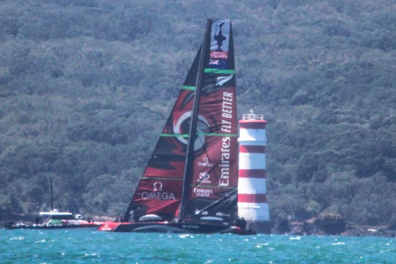 Emirates Team New Zealand's Te Aihe, Waitemata Harbour, November 7, 2019 photo copyright Richard Gladwell / Sail-World.com taken at Royal New Zealand Yacht Squadron and featuring the AC75 class