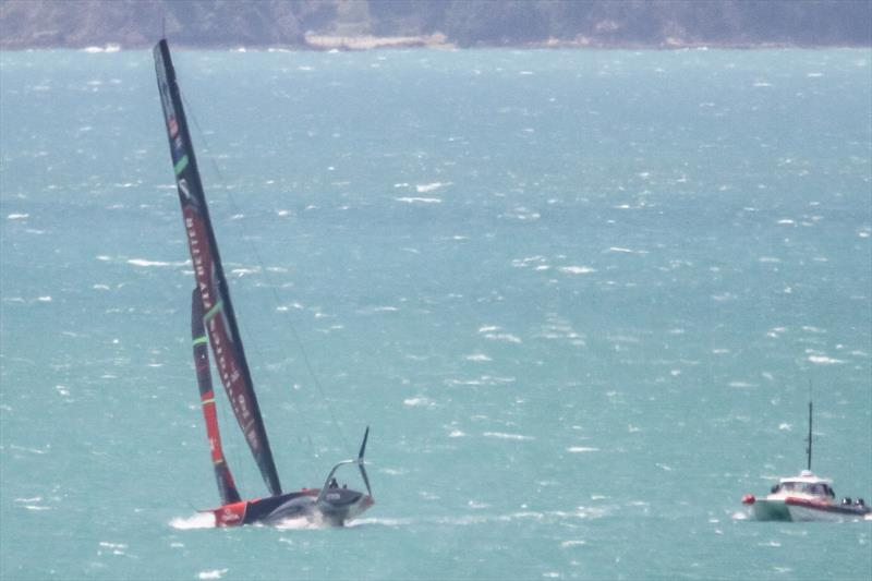 Te Aihe not foiling, but with eased sheets in the 20-25kt SW breeze, Emirates Team New Zealand - Waitemata Harbour - November 22, 2019 - photo © Richard Gladwell / Sail-World.com