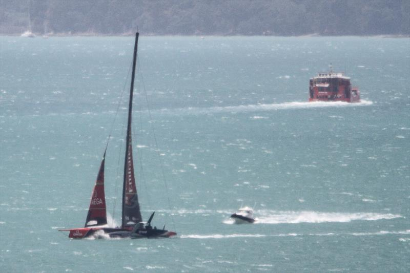 Te Aihe is joined by a spy boat as she heads home - Emirates Team New Zealand - Waitemata Harbour - November 22, 2019 - photo © Richard Gladwell / Sail-World.com