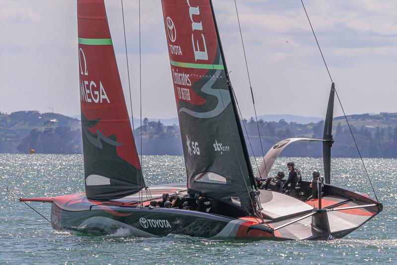 Emirates Team NZ's AC75 'Te Aihe' sets out for a training session on the morning of December 10, 2019 after two weeks behind closed doors in the team base. - photo © Richard Gladwell / Sail-World.com