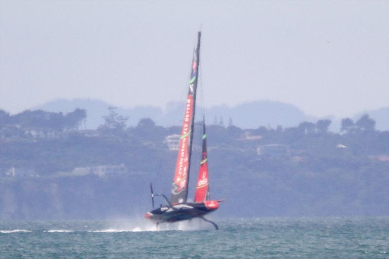 Emirates Team New Zealand rears up, but doesn't nosedive - AC75 - Te Aihe - December 11, 2019, Waitemata Harbour - photo © Richard Gladwell / Sail-World.com