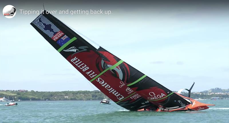 Te Aihe comes upright with what appears to be no water aboard - Emirates Team New Zealand AC75, Te Aihe, capsize - December 19, 2019 - photo © Emirates Team New Zealand