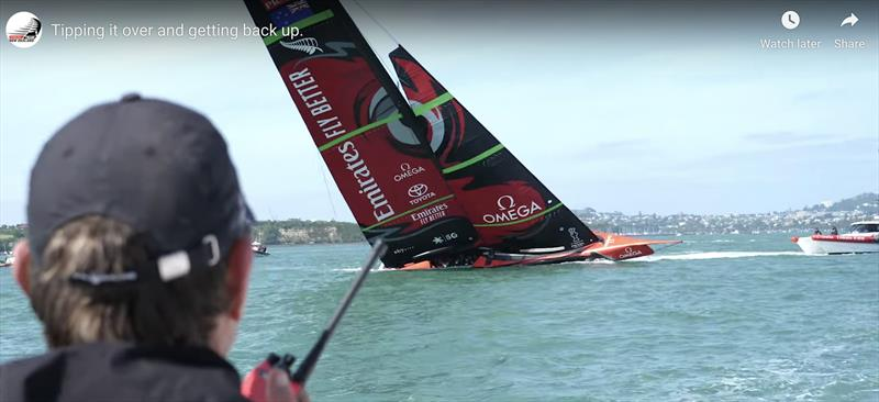 Te-Aihe responds to the tow as the line length is shortened prior to casting off - Emirates Team New Zealand AC75, Te Aihe, capsize - December 19, 2019 - photo © Emirates Team New Zealand