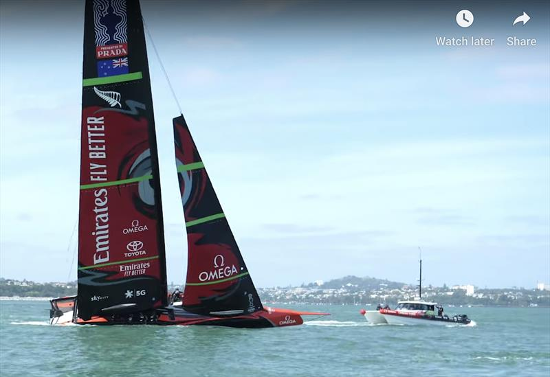 Te Aihe in a normal if slightly heeled position - Emirates Team New Zealand AC75, Te Aihe, capsize - December 19, 2019 - photo © Emirates Team New Zealand