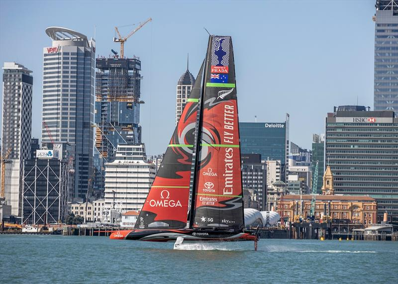 Te Aihe, Emirates Team New Zealand's first AC75 sailing in down town Auckland - photo © Emirates Team New Zealand
