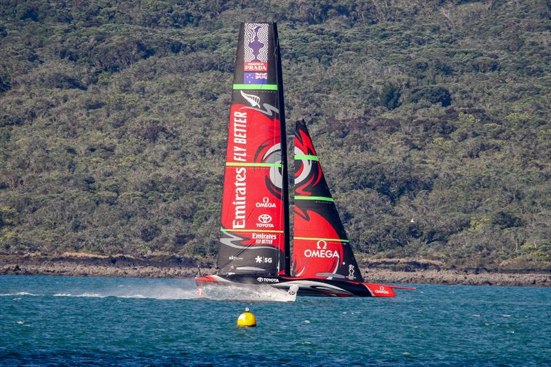 Emirates Team New Zealand's Te Aihe flies down the Rangitoto shore after a training session - Waitemata Harbour - January 15, 2020 - photo © Richard Gladwell / Sail-World.com
