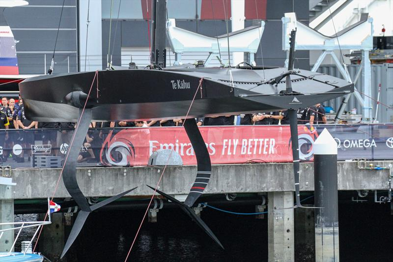 Emirates Team New Zealand launch their test boat - a 12Metre design that is very similar proportions to the AC75 used in the America's Cup. She carries the same smaller scale mast, foils and rudder. - photo © Richard Gladwell / Sail-World.com