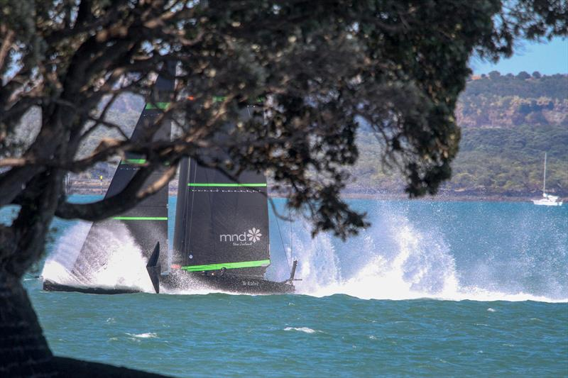 A splash down at the end of a cross-harbour run - Te Kahu - Emirates Team NZ's test boat - Waitemata Harbour - February 11, 2020 - photo © Richard Gladwell / Sail-World.com