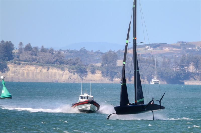 Foiling high - Te Kahu - Emirates Team NZ's test boat - Waitemata Harbour - February 11, 2020 photo copyright Richard Gladwell / Sail-World.com taken at Royal New Zealand Yacht Squadron and featuring the AC75 class