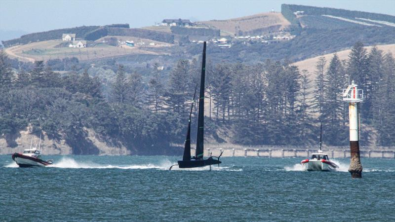 Foiling to windward - looking like a mini AC75 - Te Kahu - Emirates Team NZ's test boat - Waitemata Harbour - February 11, 2020 photo copyright Richard Gladwell / Sail-World.com taken at Royal New Zealand Yacht Squadron and featuring the AC75 class