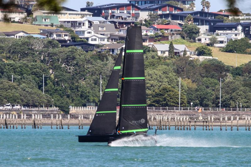 Speed appears to be similar to the AC75 - Te Kahu - Emirates Team NZ's test boat - Waitemata Harbour - February 11, 2020 photo copyright Richard Gladwell / Sail-World.com taken at Royal New Zealand Yacht Squadron and featuring the AC75 class