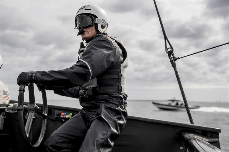 Dean Barker on the helm of NYYC's AC75 Defiant - January 2020 - Pensacola, Florida. - photo © Will Ricketson