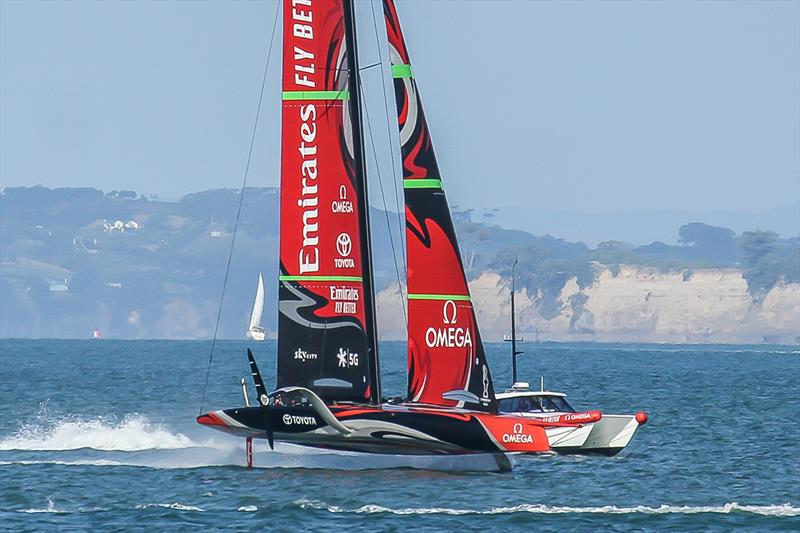 Emirates Team New Zealand's AC75 enters the Waitemata Harbour after her final sail before embarking on a four month trip to nowhere - January 15, 2020 - Waitemata Harbour - photo © Richard Gladwell / Sail-World.com