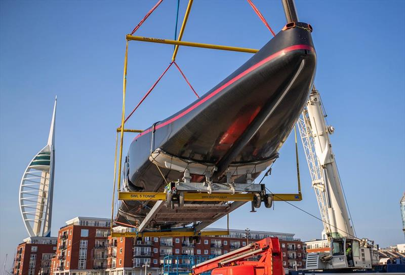 Britannia is unloaded after returning from Cagliari - INEOS Team UK - April 2020 - Portsmouth UK - photo © INEOS Team UK