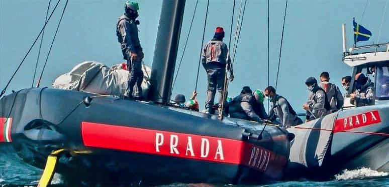 Luna Rossa test trialing off Cagliari with electric motors and face masks - April, 23 2020 - photo © Schermata