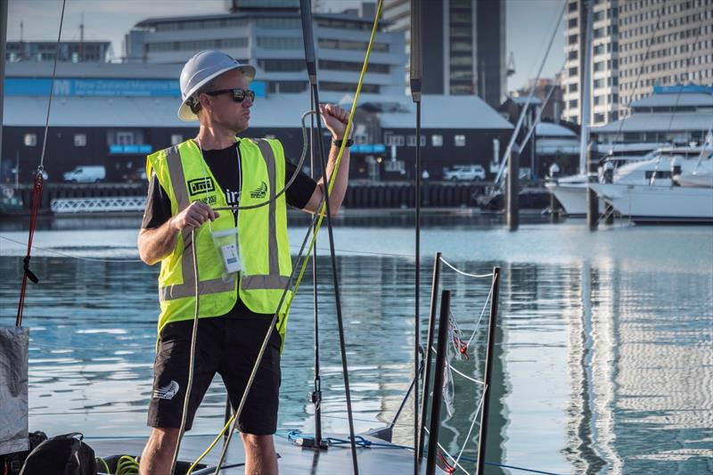 Emirates Team New Zealand's test boat Te Kaahu is prepared for their its first test session since the five week-long COVID-19 lockdown - April 30, 2020 - photo © Emirates Team New Zealand