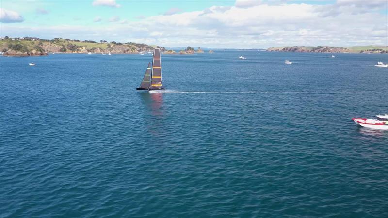 Te Kahu enjoys a fast sail around Rakino and The Noises  - May 2020 - photo © Emirates Team New Zealand