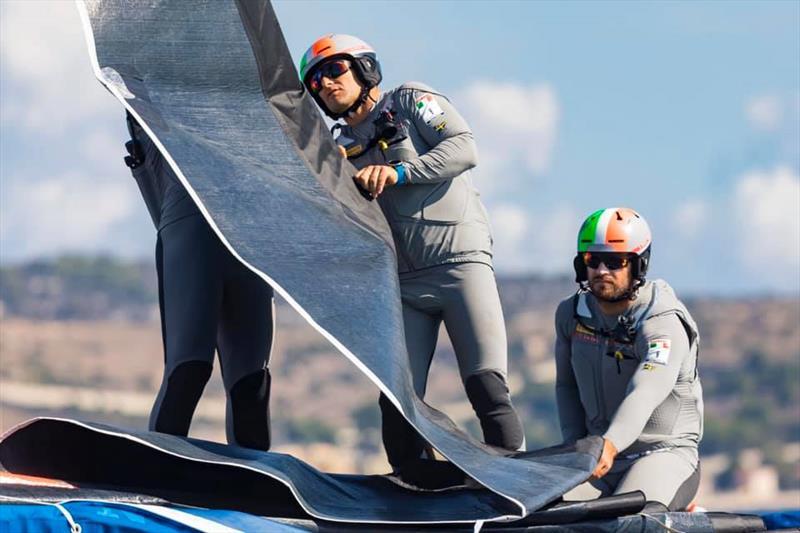 Crew flaking jib on Luna Rossa Prada Pirelli - Sardinia - May 2020 - photo © Carlo Borlenghi / Luna Rossa