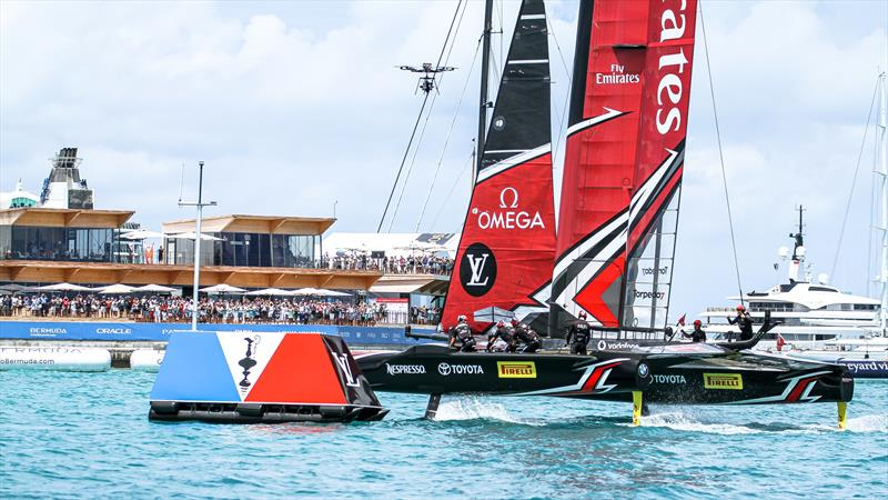 The celebrations begin as Emirates Team NZ crosses the finish off the America's Cup Village, Bermuda, June 26, 2017 - photo © Richard Gladwell / Sail-World.com