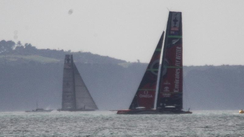 Te Aihe and Defiant - Study shot - AC75 practice Hauraki Gulf - August 13, 2020 - 36th America's Cup - photo © Richard Gladwell / Sail-World.com