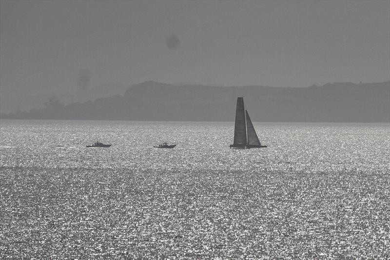 A backlit Defiant (American Magic) foiling on the Hauraki Gulf - Waitemata Harbour - August 23, - 36th America's Cup - photo © Richard Gladwell / Sail-World.com