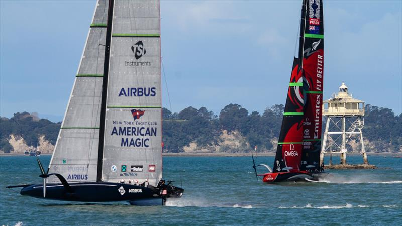 American Magic crosses Emirates Team NZ - Waitemata Harbour - September 21,2020 - 36th America's Cup - photo © Richard Gladwell / Sail-World.com
