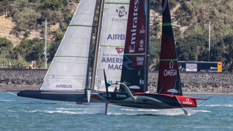 Emirates Team NZ crosses American Magic - Waitemata Harbour - September 21,2020 - 36th America's Cup - photo © Richard Gladwell / Sail-World.com