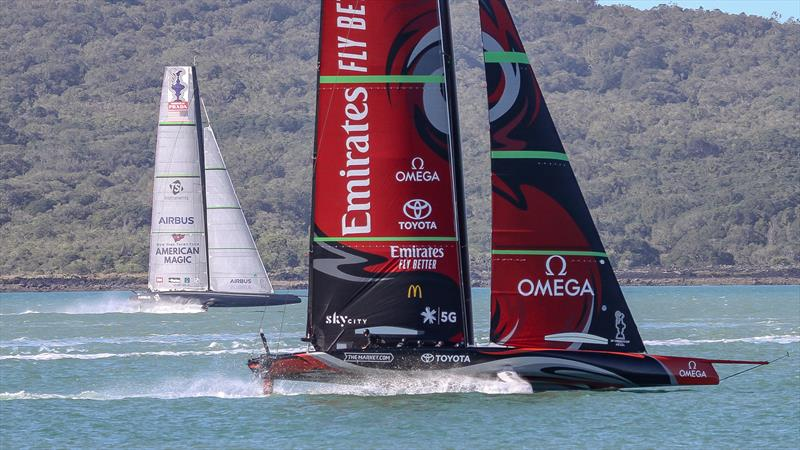 American Magic and Emirates Team New Zealand - Waitemata Harbour - September 21,2020 - 36th America's Cup - photo © Richard Gladwell / Sail-World.com