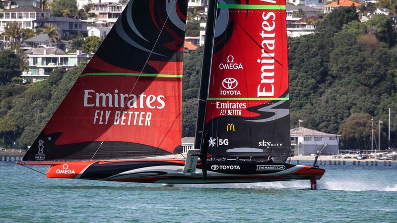 Te Aihe sailing fast in light winds with her Code Zero working well - Emirates Team New Zealand - Waitemata Harbour - September 22, 2020 - 36th America's Cup photo copyright Richard Gladwell / Sail-World.com / nz taken at Royal New Zealand Yacht Squadron and featuring the AC75 class