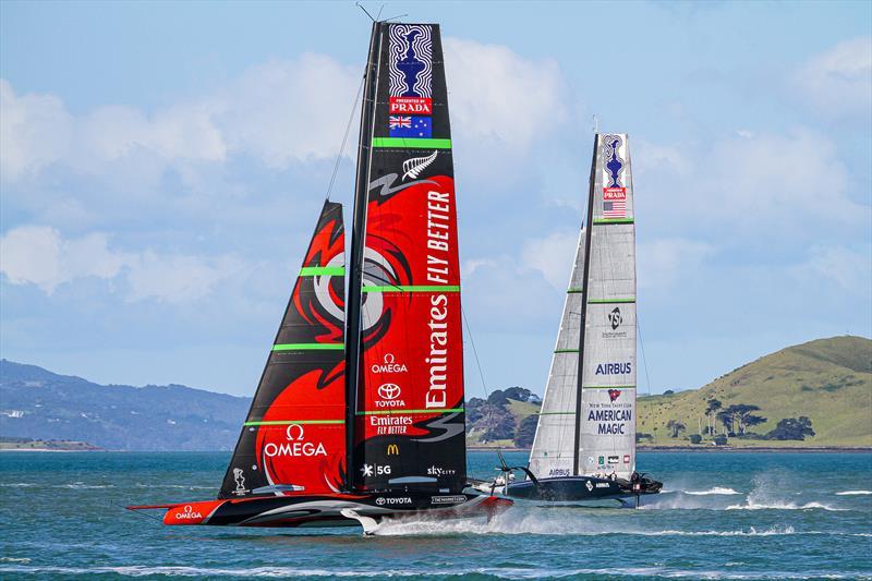 Emirates Team New Zealand and American Magic - Stadium Course - Waitemata Harbour - September 21, 2020 - photo © Richard Gladwell / Sail-World.com