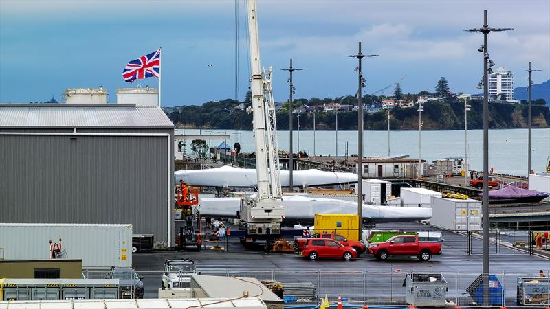 INEOS Team UK's  Britannia and American Magic's Defiant the two teams first launched AC75's in front of the team bases in Auckland - October 13, 2021 photo copyright Richard Gladwell / Sail-World.com taken at Royal Yacht Squadron and featuring the AC75 class