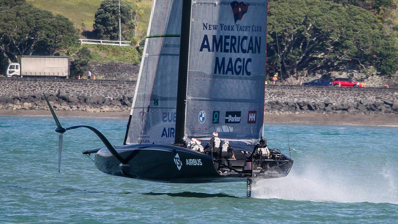 American Magic about to get a traffic ticket for speeding along Tamaki Drive - Stadium Course - Waitemata Harbour - September 21, 2020 - photo © Richard Gladwell / Sail-World.com