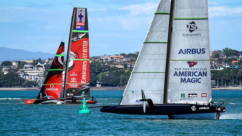 Emirates Team New Zealand and American Magic - Stadium Course - Waitemata Harbour - September 21, 2020 - photo © Richard Gladwell / Sail-World.com