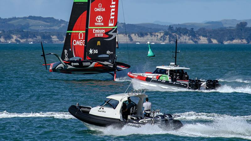 Emirates Team New Zealand with the Luna Rossa recon team in the foreground - Stadium Course - Waitemata Harbour - September 21, 2020 - photo © Richard Gladwell / Sail-World.com