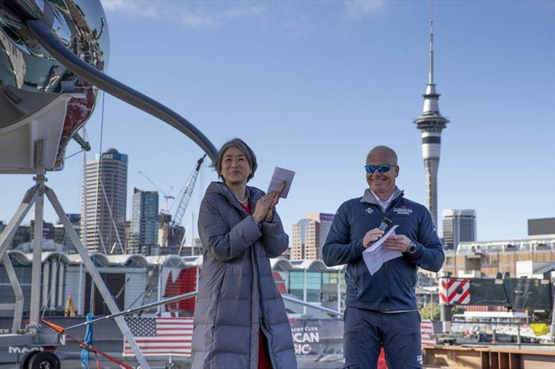 Katelyn Choe, Consul General US Consulate Auckland, with American Magic's Terry Hutchinson - American Magic's AC75 Patriot in Auckland. - photo © Will Ricketson/American Magic