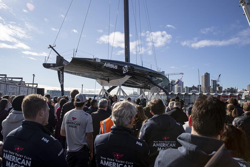 American Magic's AC75 Patriot in Auckland. photo copyright Will Ricketson/American Magic taken at New York Yacht Club and featuring the AC75 class