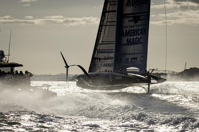 American Magic carves up the Waitemata in her first test sail in 21 kts - October 16, 2020 - photo © Will Ricketson/American Magic