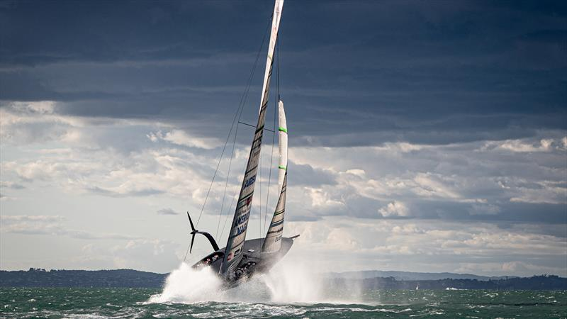 American Magic's Patriot jumps clear of the water on its maiden sail in 20kt winds - October 16, 2020 - American Magic - New York Yacht Club - 36th America's Cup - photo © Will Ricketson/American Magic
