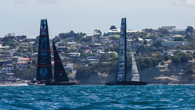 American Magic and INEOS Team UK off Castor Bay - Waitemata Harbour - October 26, 2020 - 36th America's Cup - photo © Simon and Tanya Roberts