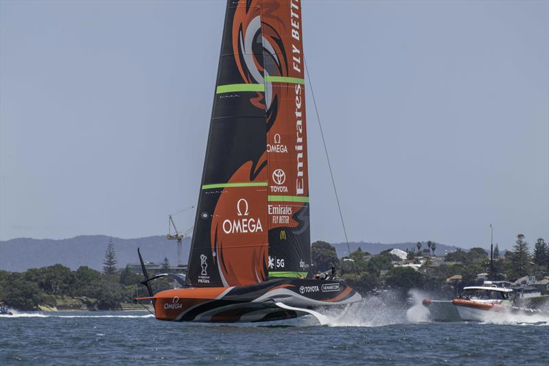 Emirates Team New Zealand sail their AC75 Te Rehutai on the Waitemata Harbour in Auckland, New Zealand - photo © Hamish Hooper / Emirates Team New Zealand