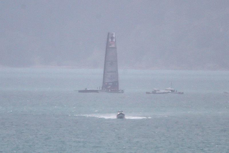 American Magic sets up as the rain squall moves through- Tamaki Strait - November 26, 2020 - 36th America's Cup - photo © Richard Gladwell / Sail-World.com