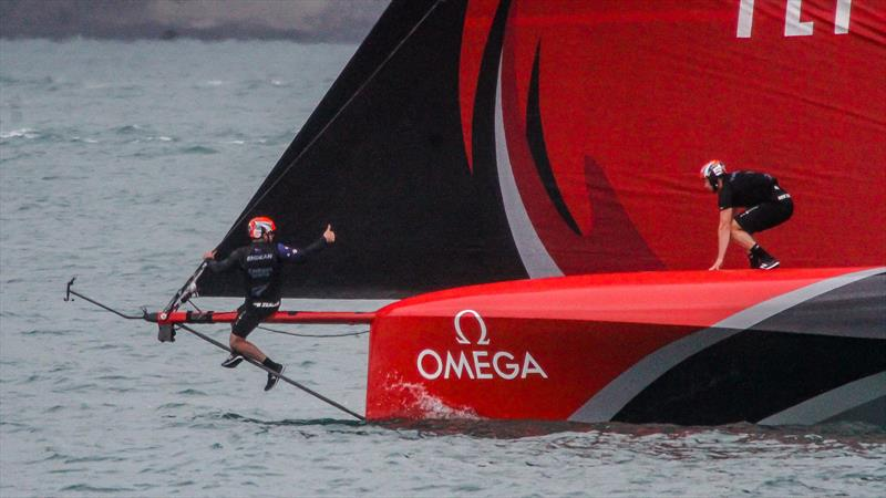 Furling gear adjustment - Emirates Team NZ - Waitemata Harbour - November 30, 2020 - 36th America's Cup - photo © Richard Gladwell / Sail-World.com