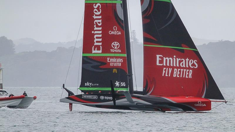 Forming the endplate between the rig and the water, Emirates Team New Zealand - November 2020, - Waitemata Harbour - America's Cup 36 - photo © Richard Gladwell / Sail-World.com
