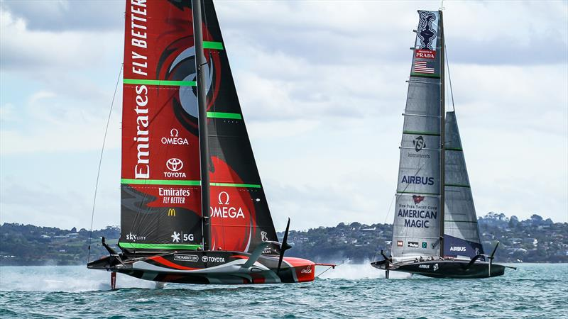 Patriot, American Magic and Te Rehutai, Emirates Team New Zealand - December 08,2012  - Waitemata Harbour - America's Cup 36 photo copyright Richard Gladwell / Sail-World.com taken at Wakatere Boating Club and featuring the AC75 class